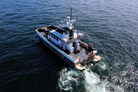 Das Schiff für Start und Landungen der Offshoredrohne