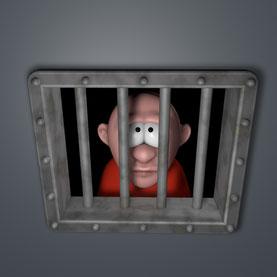 Mann schaut durch Gitter aus Gefängniszelle.