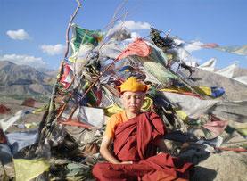 Meditierender Klosterschüler vor buddhistischen Gebetsfahnen. Foto: Mahabodi Meditation Center Leh, Ladakh.