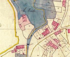 Le site du moulin. Cadastre de 1834 - Archives Départementales des Ardennes.