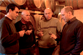 Current generation, Sylvain (left) and Jerome (right) with their father Jacques (2nd left) and Uncle Pierre.