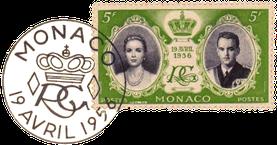 Sonderbriefmarke zur Hochzeit von Fürst Rainer III und Grace Kelly  19. April 1956
