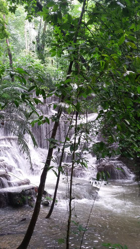 Waterfalls at the ruins of Palenque