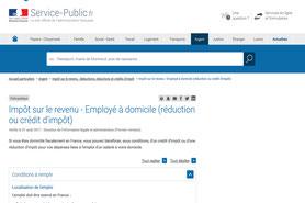 Article sur le site service-public.fr pour la déclaration d'impôt sur le revenu et l'emploi à domicile