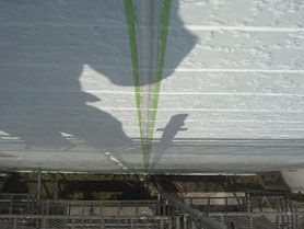 軒雨樋、破風板 塗装中