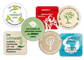 Etiketten für gebrauchte Kartons - der Umwelt zuliebe Versand mit gebrauchten Kartons