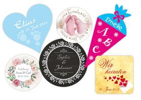 Aufkleber zur Geburt, Verlobung, Hochzeit, Liebe, Save the Date, Einschulung