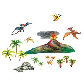 Wandtattoos mit urzeitlicher Landschaft und Flugsaurier - liebevoll handgemaltes Motiv