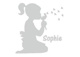 Glastattoo: Mädchen mit Pusteblume + Wunschname