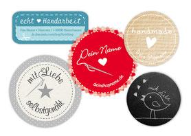 Etiketten für DIY Projekt, mit Shopname, Adresse