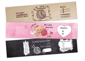 Sockenbanderolen - edle Verpackung für deine Handmade Socken - damit fällst Du garantiert auf - egal ob im Onlineshop oder auf Märkten
