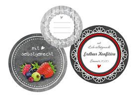 Marmeladenaufkleber in verschiedenen Größen, Motiven und Formaten