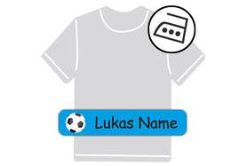schmale Bügeletiketten blau Fußball