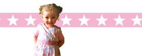 rosa Wandbordüre für Kinder mit Sternen