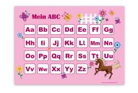 ABC Lernposter rosa mit Pferd u. Blumen