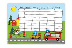 Stundenplan für Kinder Feuerwehr