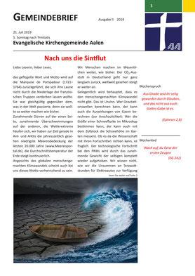 Gemeindebrief Aalen 2019-07