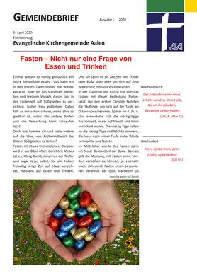 Gemeindebrief Aalen 2020-04