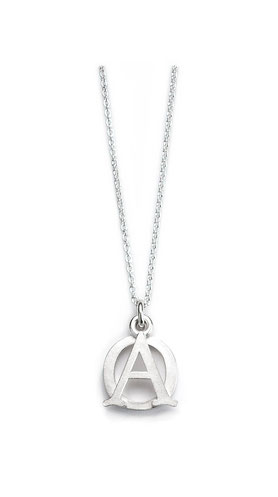 Silberkette mit Anhänger Alpha und Omega