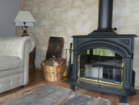 large woodburner in common livingroom