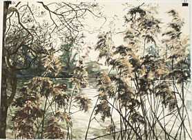 """""""Flusslauf"""", Triptychon, Tusche und Aquarell, je 46 x 61 cm, 2015"""