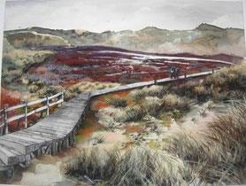 """""""Heidelandschaft"""", Triptychon rechts, Aquarell, Pastellkreide und Stifte auf Papier, 60 x 90 cm, 2018"""