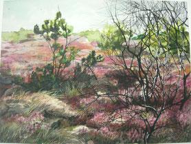"""""""Heidelandschaft"""", Triptychon links, Aquarell, Pastellkreide und Stifte auf Papier, 60 x 90 cm, 2018"""