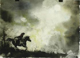 """Atreju und Artax"", Aquarell und Stifte, 30 x 40 cm, 2013"