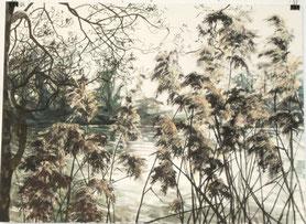 """1. """"Flusslauf"""" Triptychon, Tusche und Aquarell, 3 x 46 x 61 cm, 2015"""