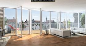 Einrichtungsstil, Wohnstil, Wohnen, Einrichten, Wohnideen, Wohntrends,  Über den Dächern der Stadt, minimalistisch Wohnen, puristisch Einrichten, Bauhaus-Sofa, hohe Fenster, viel Licht, modern Wohnen