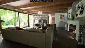 Einrichtungsstil, Wohnstil, Wohnen, Einrichten, Wohnideen, Wohntrends, schwedisch Wohnen, Wohnen in der Natur, Sofa, Kamin, gemütlich, Wohnzimmer, Fensterfront, Blick ins Grüne
