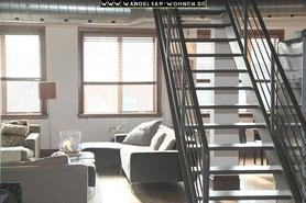 Einrichtungsstil, Wohnen, Schöner Wohnen, Wohlstil,  Wohnen im Loft, Loft-Stil, Wohnzimmer, Stahltreppe, modern Wohnen
