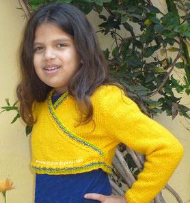 Tutorial: bolero cruzado para niñas tejido en dos agujas o palitos