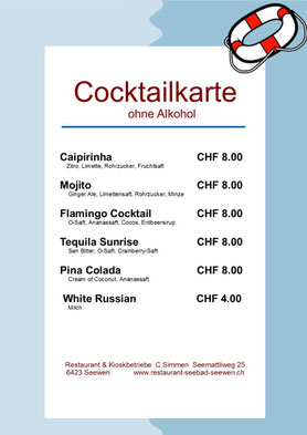 Cocktailkarte (ohne Alkohol)
