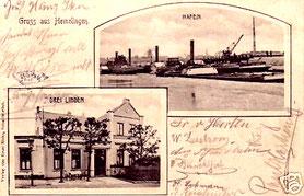 Postkarte von 1906 mit einem Foto von Dampfschiffen im Hemelinger Hafen