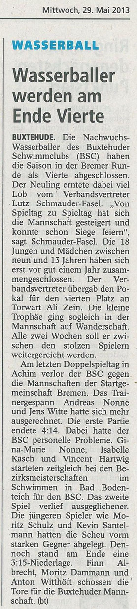 U13-Wasserballer werden Vierter. Buxtehuder Tageblatt vom 29.05.2013