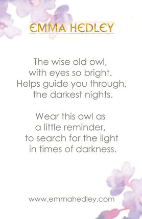 Owl Meaning Emma Hedley Jewellery Card