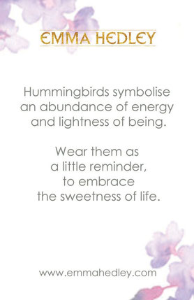 Emma Hedley Jewellery Hummingbird Meaning Card