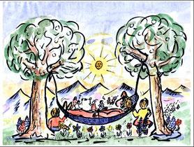 Entspannung in einer Hängematte zwischen Bäumen