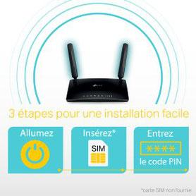 Installation très simple !     Tout ce que vous devez faire c'est allumer le routeur TP-Link, insérer la carte SIM 4G et entrer le code PIN.