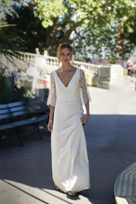 Robe de mariée Baudelaire Dentelle de Calais et Soie