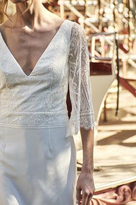 Robe de mariée dentelle de calais et soie