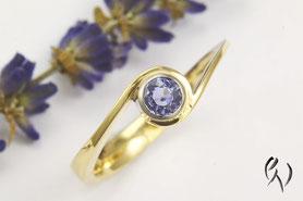 Geschwungener Ring Gold mit Turmalin