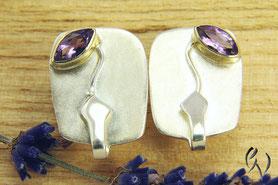 Ohrstecker Silber mit Farbstein