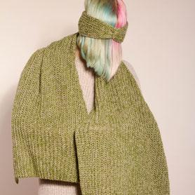 handmade Schal aus beigem Kaschmir und grüner Biowolle, groß, warm