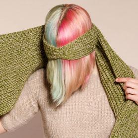gemütliches grün-beiges Stirnband aus Kaschmir und Biowolle