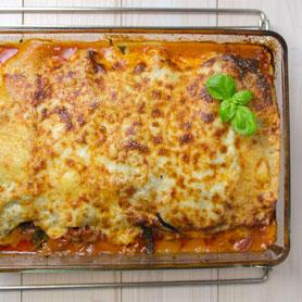 Lasagne al forno with spinach.