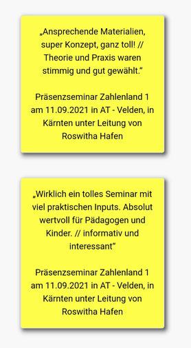 29.09.2021: Rückmeldungen vom Seminar Zahlenland 1, das erstmalig in Kärnten stattgefunden hat.