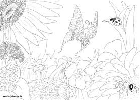 Ausmalbild Malvorlage kostenlos Cottbus Blumenwiese Schmetterlin butterfly biene bee marienkäfer käfer bug ladybug