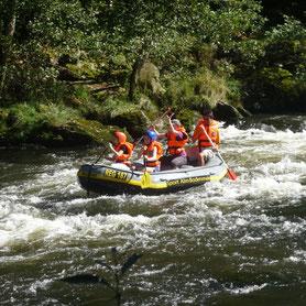 Schlauchboottour, geführte Schlauchboottour, Schwarzer Regen, Bayerisch Kanada, Wildwasser, Rafting